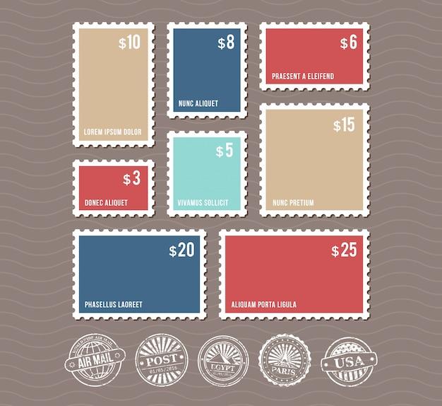 Leere briefmarken in verschiedenen größen und vintage poststempelsatz Premium Vektoren