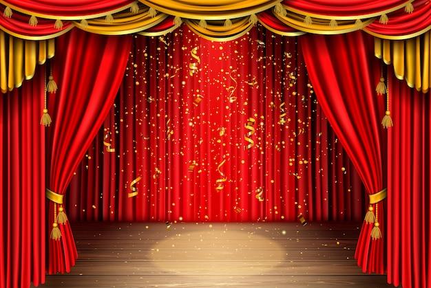 Leere bühne mit rotem vorhang und fallendem konfetti Kostenlosen Vektoren