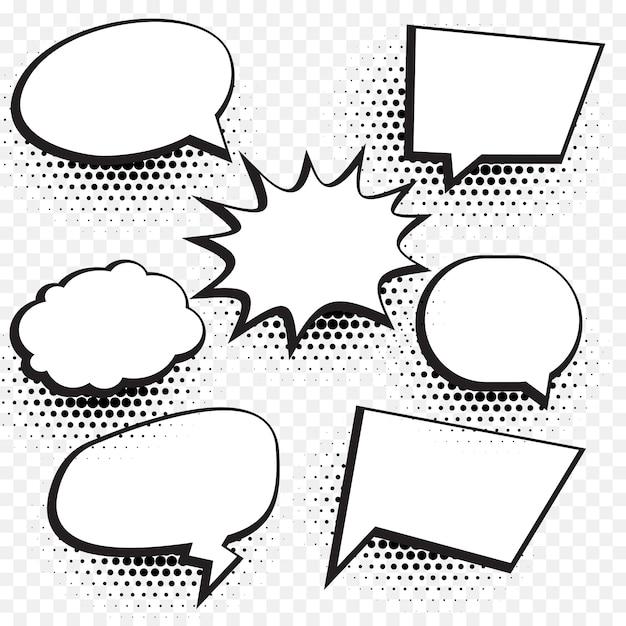Leere Comic-Chat-Blase und Element Hintergrund mit Halbton-Effekt gesetzt Kostenlose Vektoren