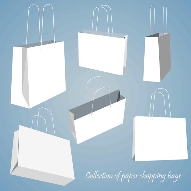 Leere einkaufstasche festgelegt. Premium Vektoren