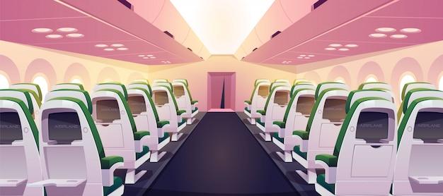 Leere flugzeugkabine mit stühlen, digitalen bildschirmen Kostenlosen Vektoren