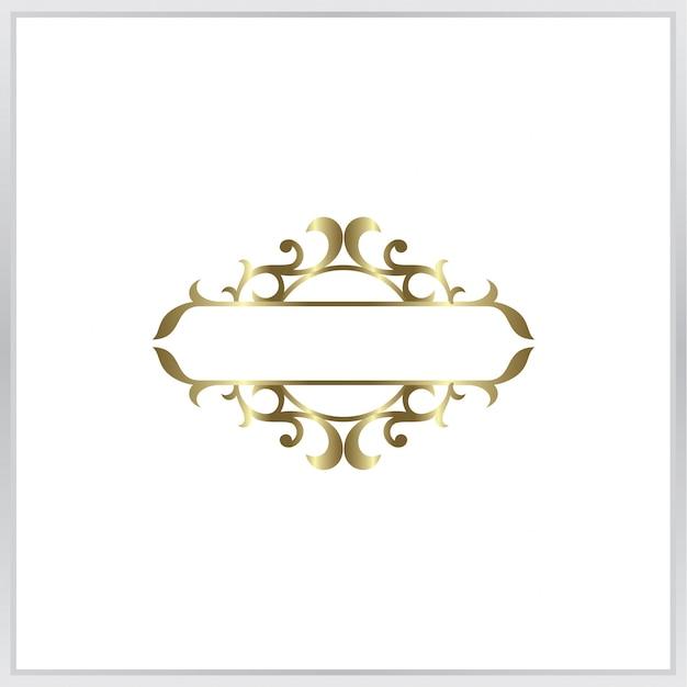 Leere foto-frmae-symbol. goldverzierung Premium Vektoren
