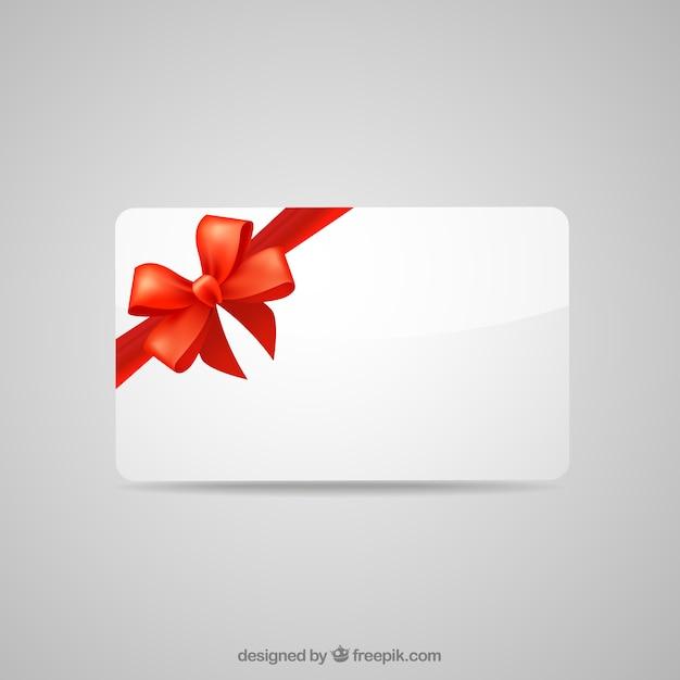 Leere geschenk-karte mit roter schleife Kostenlosen Vektoren