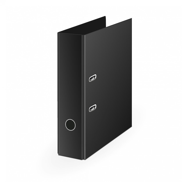 Leere geschlossene büromappe mit den metallringen, legend, ansicht 3d Premium Vektoren