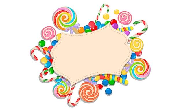 Leere grußkarte des süßigkeitsthemas Premium Vektoren