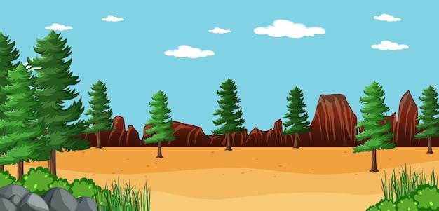 Leere landschaft in naturparkszene mit vielen kiefern Kostenlosen Vektoren
