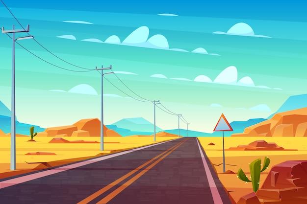 Leere landstraßenstraße in der wüste, weit gehend zur horizontkarikatur Kostenlosen Vektoren