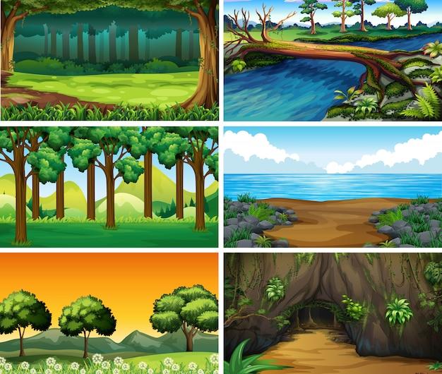 Leere, leere landschaftsnaturszenen Kostenlosen Vektoren