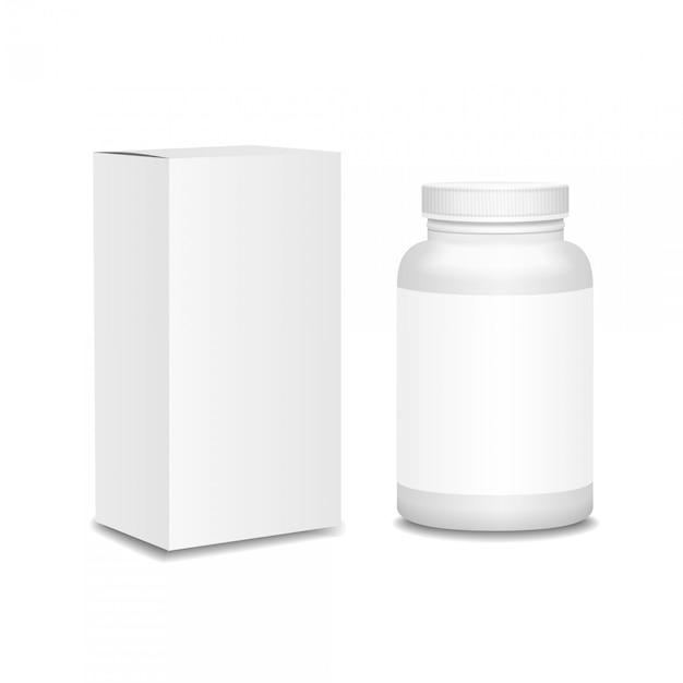 Leere medizinflasche mit dem kasten realistisch Premium Vektoren