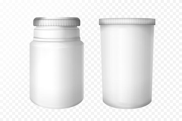 Leere medizinische flaschen auf transparentem hintergrund. Kostenlosen Vektoren