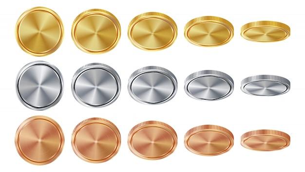 Leere münzen des gold-3d, des silbers, der bronze Premium Vektoren