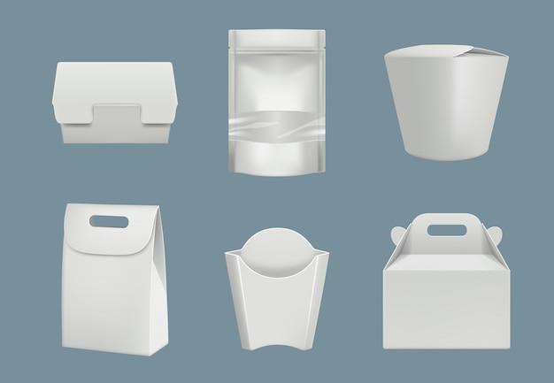 Leere papp- und plastikverpackungen eingestellt Premium Vektoren