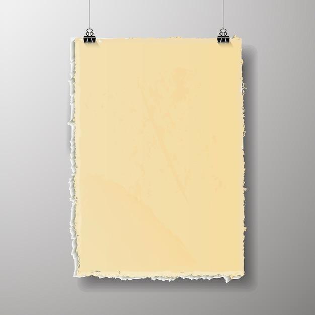 Leere plakatvorlage. ein plakat, ein stück papier an der wand. werbebanner-layout des messestandes, leere seite der billboard-bilder zum drucken Premium Vektoren