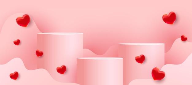 Leere podien, sockel oder plattformen mit gewellten formen des papierschnitts und roten liebesballons auf einem rosa hintergrund. minimale szene mit geometrischen formen für die produktpräsentation Premium Vektoren