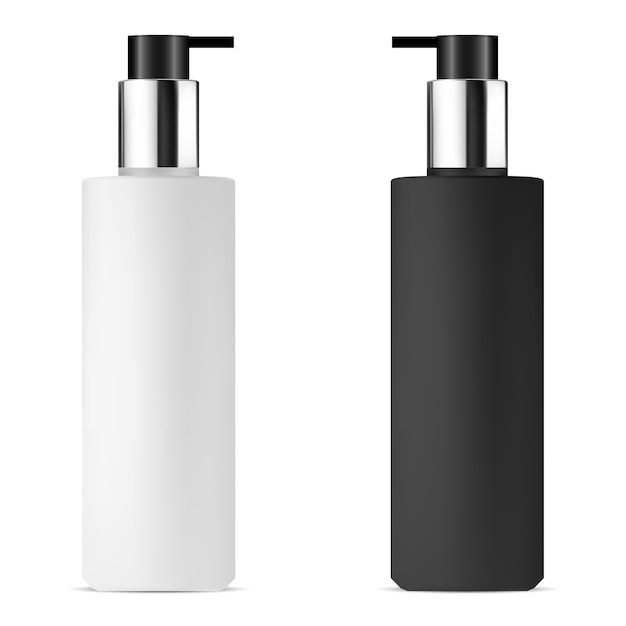 Leere pumpspenderflasche. isolierte pflegebehälter Premium Vektoren