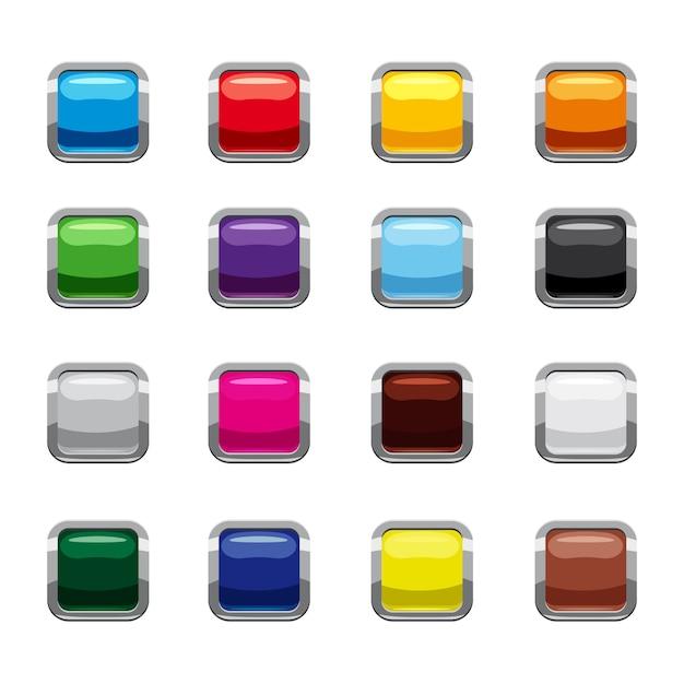 Leere quadratische knopfikonen eingestellt, karikaturart Premium Vektoren