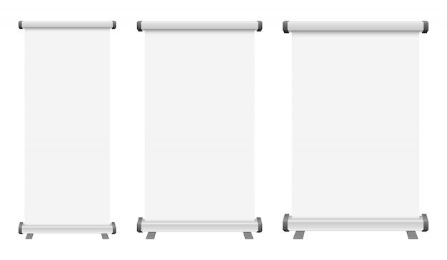 Leere roll-up-bannerillustration auf weißem hintergrund Premium Vektoren