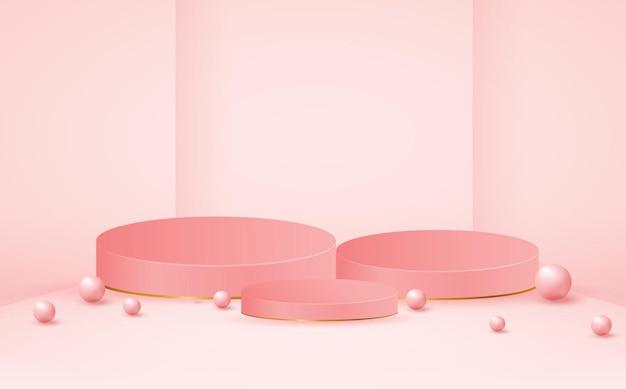 Leere rosa podium-produktstufenschablone Premium Vektoren
