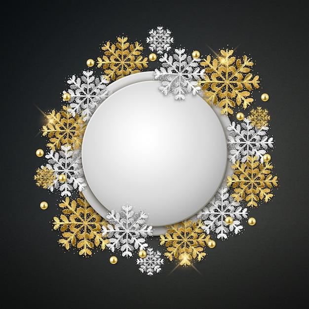 Leere runde weihnachtsfahne mit schneeflocken Premium Vektoren