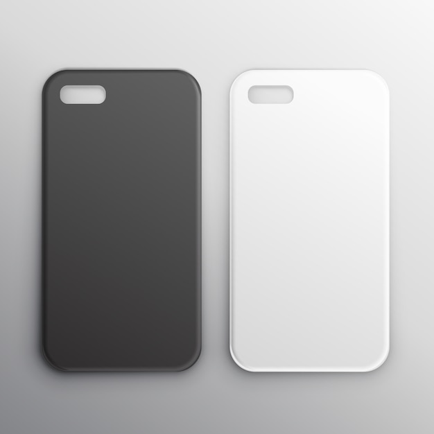 Leere schwarze und weiße smartphone hüllen Kostenlosen Vektoren