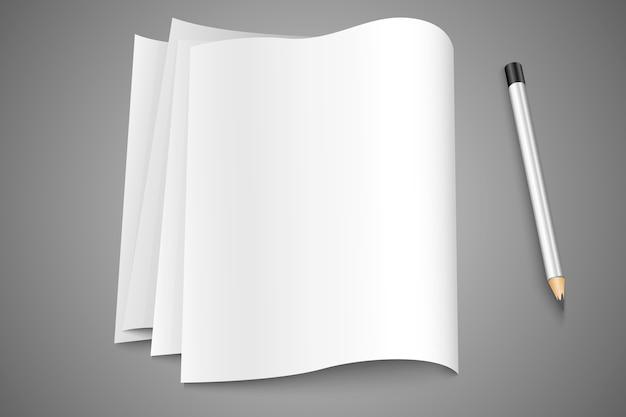 Leere seiten, seiten papier mit einem stift Premium Vektoren
