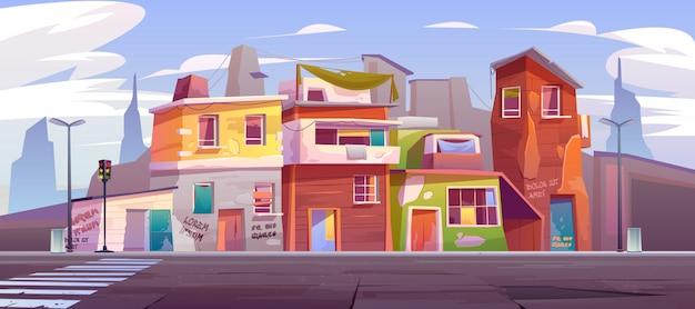 Leere straße des gettos mit ruinierten verlassenen häusern Kostenlosen Vektoren