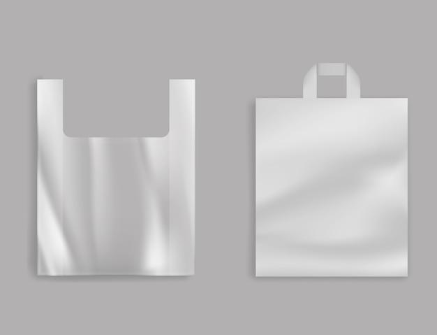 Leere t-shirt plastiktasche, polyethylen-paket mit griffen für lebensmittelgeschäft Kostenlosen Vektoren