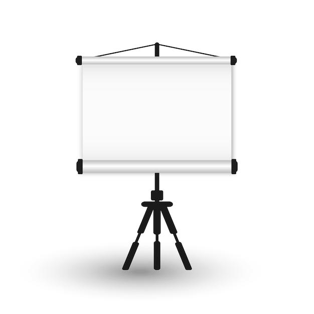 Leere tragbare projektionswand auf einem stativ. Premium Vektoren