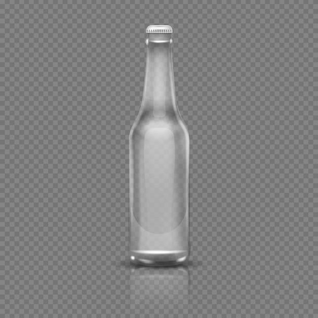 Leere transparente bier- oder wasserflasche. realistische abbildung des vektor 3d. leere flasche transparent g Premium Vektoren