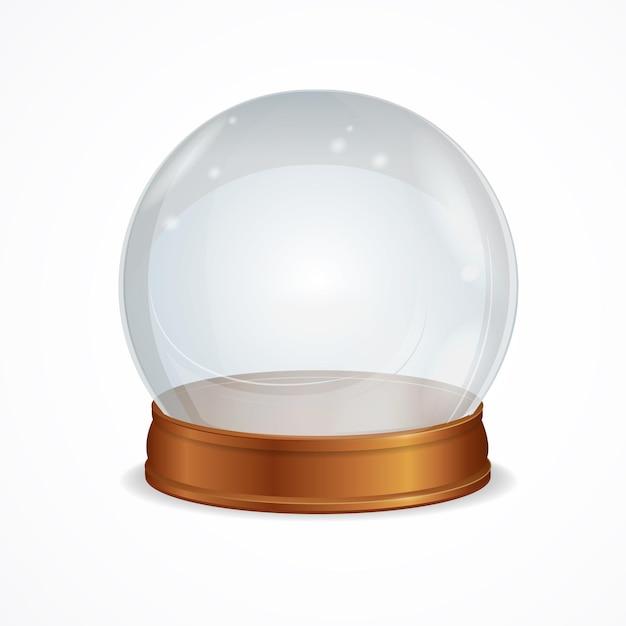 Leere transparente kristallkugel isoliert. das symbol der hexerei Premium Vektoren