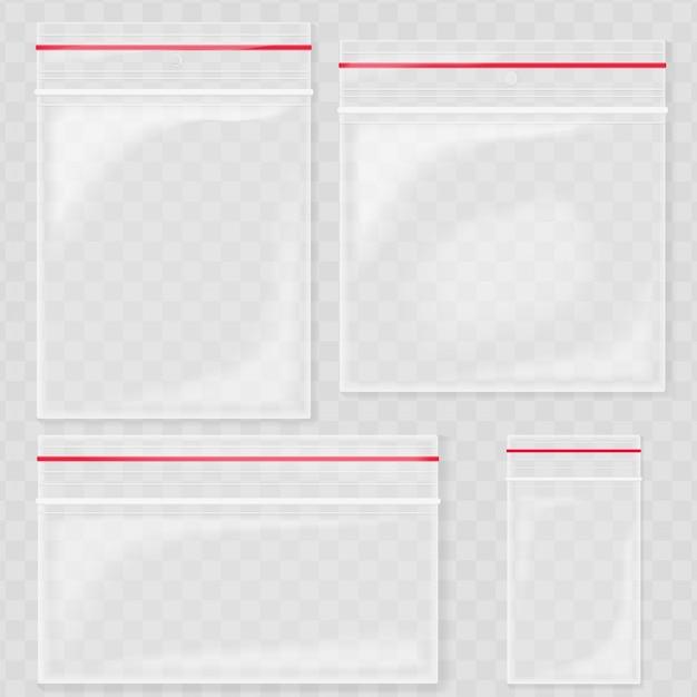 Leere transparente plastiktaschentaschen Premium Vektoren