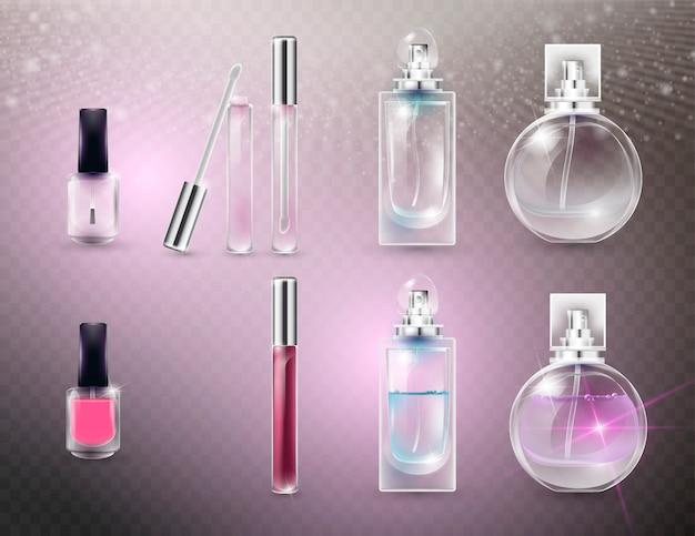 Leere und volle kosmetische glasflaschen. Premium Vektoren