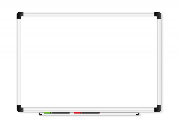 Leere weiße markierungstafel auf transparentem hintergrund. Premium Vektoren