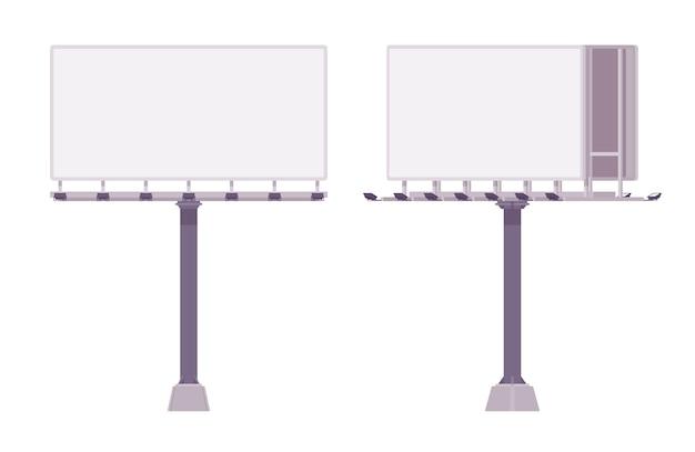 Leere werbetafel zur anzeige von werbung. white-panel-stadtrechnungen zum posten von informationen entlang von autobahnen. landschaftsarchitektur und stadtkonzept. stil cartoon illustration Premium Vektoren