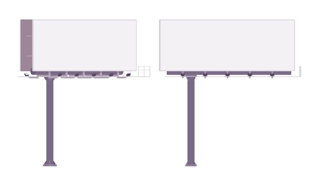 Leere werbetafel zur anzeige von werbung. white-panel-stadtrechnungen zum posten von informationen entlang von autobahnen. landschaftsarchitektur und städtebauliches konzept. stil cartoon illustration Premium Vektoren