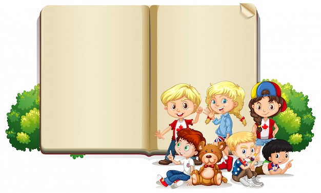 Leere zeichenvorlage mit kindern und teddybär Kostenlosen Vektoren