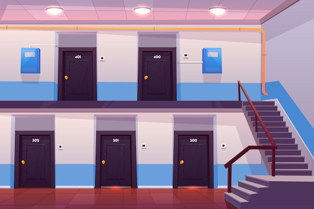 Leeren flur oder korridor mit nummerierten türen, treppen, fliesenboden und stromzähler an der wand Kostenlosen Vektoren
