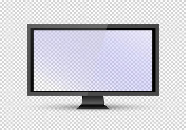 Leeren sie lcd-bildschirm, plasma-displays oder fernseher für ihren monitor. computer oder schwarzen fotorahmen auf transparentem hintergrund. illustration. Premium Vektoren