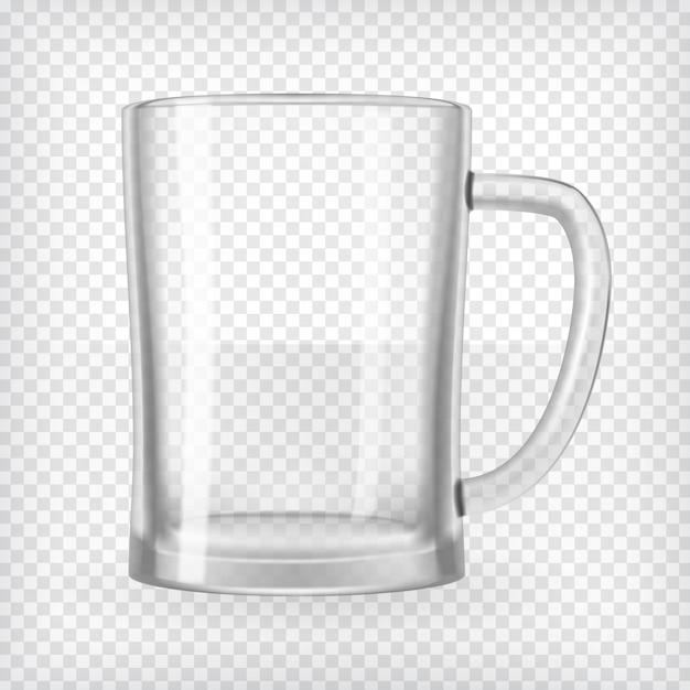 Leerer bierkrug. realistische transparente vektorabbildung. Premium Vektoren