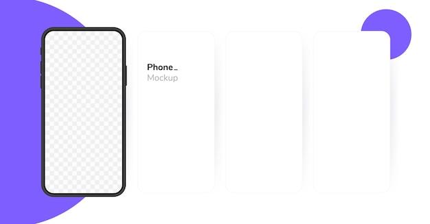 Leerer bildschirm des smartphones, telefon. karussell telefonbildschirm. vorlage für die benutzeroberfläche für infografiken oder präsentationen. Premium Vektoren
