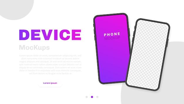 Leerer bildschirm des smartphones, telefon. neues telefonmodell. vorlage für infografiken für die benutzeroberfläche der präsentation. illustration. Premium Vektoren