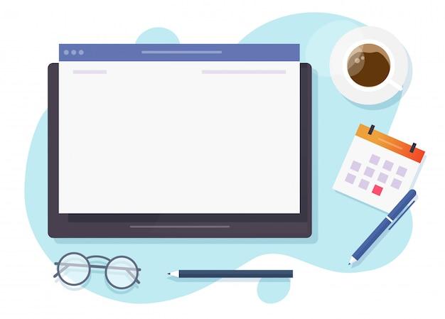 Leerer bildschirm des webbrowser-fensters auf digitalem tablet-computer zum kopieren von text auf dem schreibtisch oben Premium Vektoren