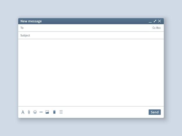 Leerer e-mail-bildschirm. mail message interface leer modell internet fenster computer, box page web software browser Premium Vektoren