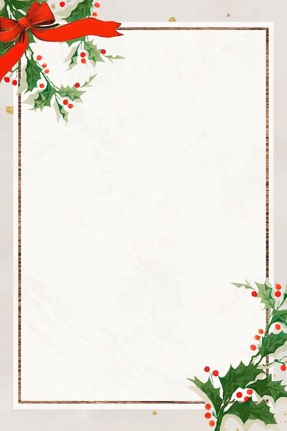 Leerer festlicher rechteckiger weihnachtsrahmenhintergrund Kostenlosen Vektoren