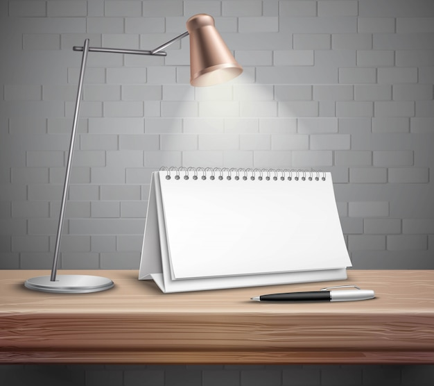 Leerer gewundener papierschreibtischkalenderstift und -lampe Kostenlosen Vektoren
