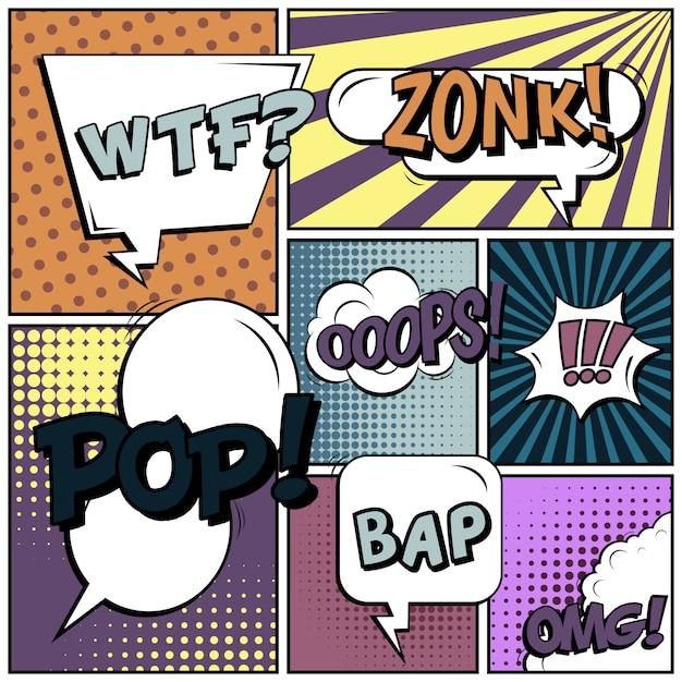 Leerer hintergrund der komischen pop-arten-art. Premium Vektoren