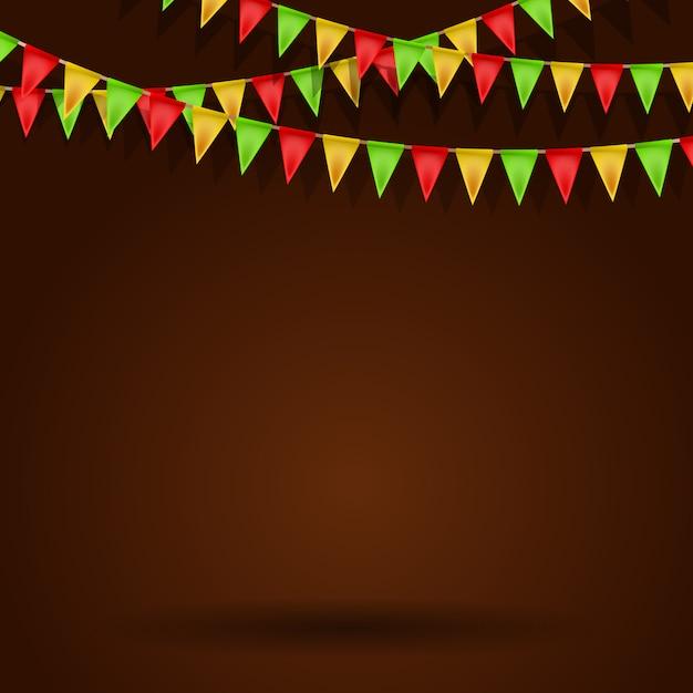 Leerer hintergrund mit karnevalsflaggen. illustration Premium Vektoren