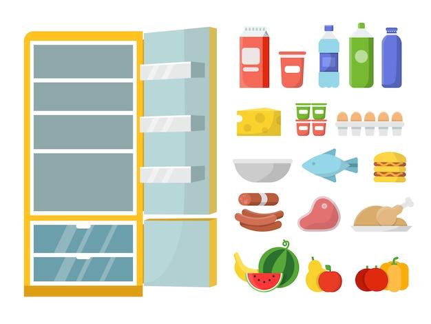 Leerer kühlschrank und anderes essen. vektor flache abbildungen. kühlschrank und essen frisch, milchflasche und fleisch, gemüse und obst Premium Vektoren