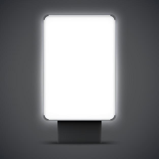 Leerer leuchtkasten im freien lokalisiert. stadt lightbox mit schwarzem und silbernem rahmen. vektor-illustration Premium Vektoren