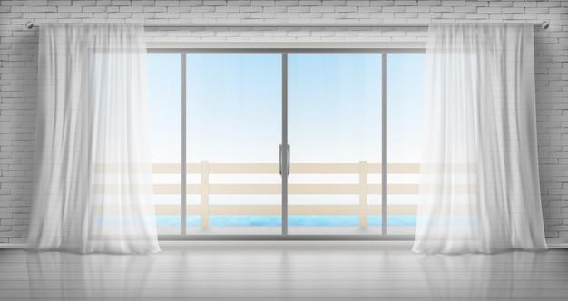 Leerer raum mit glastür zum balkon und vorhängen Kostenlosen Vektoren